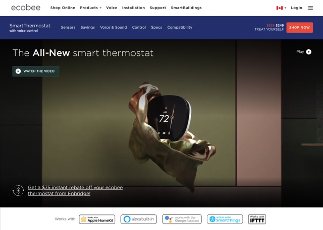 screenshot of thermostat product page