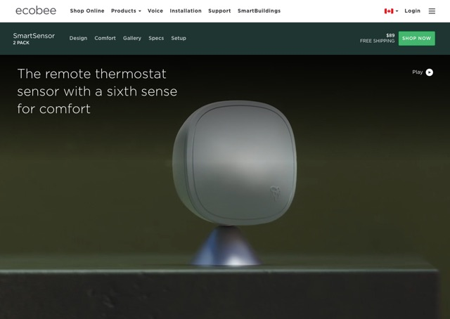 screenshot of sensor product page