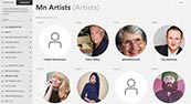 screenshot of artists page